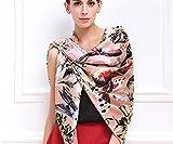 XYLUCKY 100 % Seide Schal Premium Damenmode Muster große quadratische Satin Kopftuch Kopfschmuck , pink