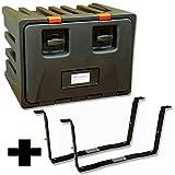 Lago BD068+VH096 Black Dog, Werkzeugkasten inkl. Halter, LKW Staukasten aus Kunststoff 600x450x470 mm