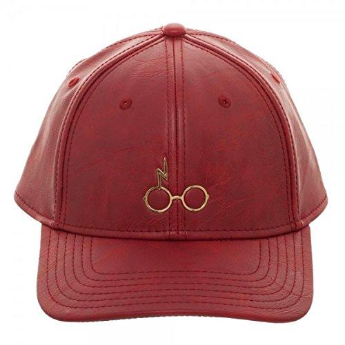 Bioworld - Harry Potter - minimalistisch, Gold-Ton-, Metall-Ikone der Blitz Narbe und Brille - Baseball-Kappe aus rotem Polyurethan