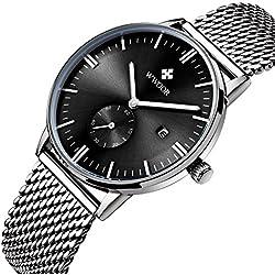 Herren Luxus Edelstahl Mesh Band Uhr mit Datum, Schwarz