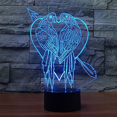 Romantisches Nachtlicht des Liebesentwurfs 3d töten zwei Vögel mit einer Klappe 7, die Farben als Geschenk oder schärfen Dekor ändert -