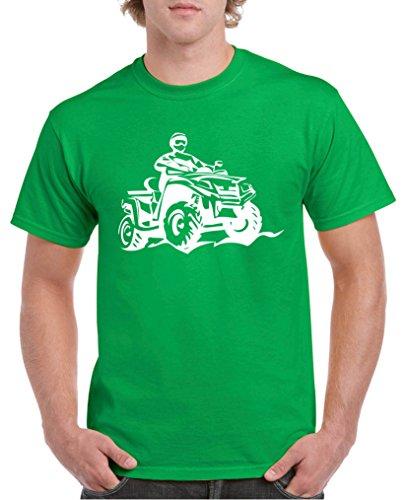 Atv Jersey (Comedy Shirts - Quad ATV - Herren T-Shirt - Grün / Weiss Gr. L)