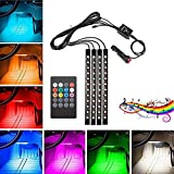 LED für Auto Innenbeleuchtung, 4pcs 48 LED DC 12V Auto LED Innenraum durch Musikschlag, Mehrfarbige LED's unter dem Armaturenbrett Beleuchtungs-Kit mit Aktiver Sound-Funktion (IR Fernbedienung)