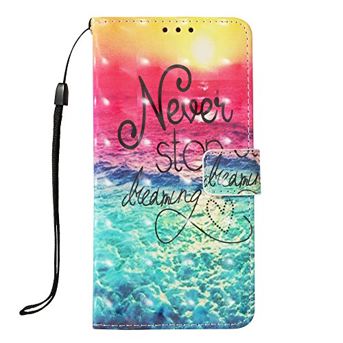 LG K30 Fall, LG K10 2018 Fall, jancalm [Handschlaufe] [Standfunktion] [3D Painted] [-Karte/Cash Slots] Muster PU Leder Wallet Magnetic Flip Folio Cover + Crystal Pen, Never Stop Pattern T-mobile Wireless-handy