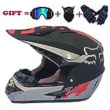 Po Casque de Motocross de Moto Adulte avec Lunettes/Gants/Masque Casque de Moto...