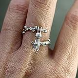 Jixing Silber Überzogene Frauen Offenen Ring Katze Klettern Baum Einstellbare Ring Romantisches Geschenk für Frauen Mädchen