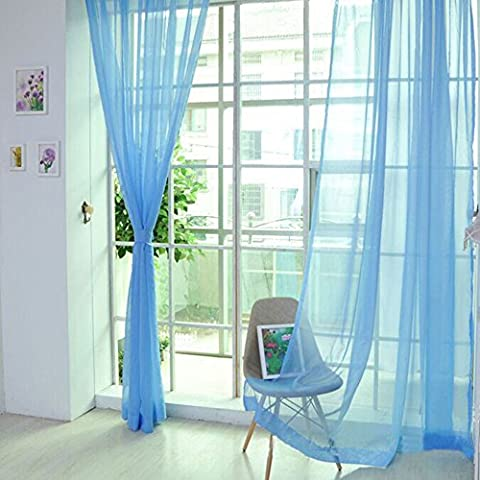 FLORATA 1 PCS Pure Color Tulle Door Window Curtain Drape Panel Sheer Scarf Valances for Home Living Room Bed Room(Blue)
