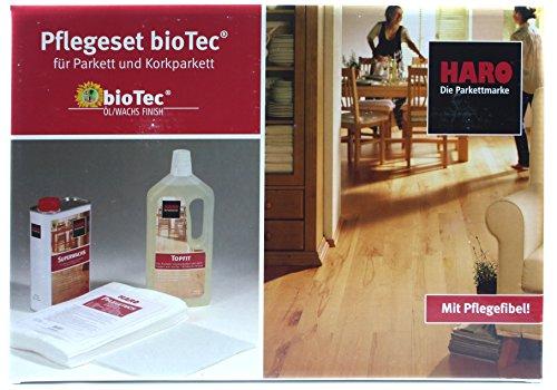 HARO Pflegeset bioTec für Parkett und Korkparkett 1 Liter Topfit + 1 Liter Superwachs + 10 Tücher + Pad