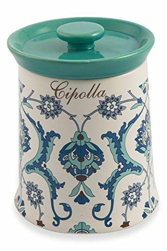 Galileo Casa Marocco Présentoir à Gâteaux Pot pour oignons Celeste/Bianco
