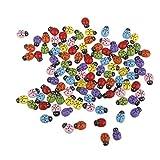 Pixnor, mini coccinelle adesive per casa delle bambole o giardino in miniatura, 100 pezzi (colori misti)