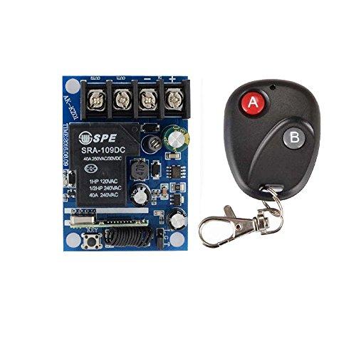 12v Ac Alarm Remote (Lejin AC DC 12V-48V 24V 40A 1 Kanal Funkfernbedienung Lichtschalter EIN / AUS 1 Kanal Relais Schalter Empfänger Sender Funkfernsteuerung Funkfernbedienung Funkschalter Relai Schalter mit Handsender Licht Motor)