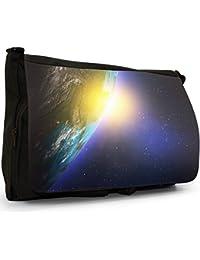 Space Exploration Large Messenger Black Canvas Shoulder Bag - School / Laptop Bag