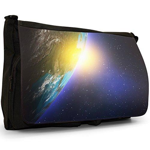 Esplorazione Spaziale–Borsa Tracolla Tela Nera Grande Scuola/Borsa Per Laptop Sun Emerging From The Earth