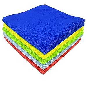SOFTSPUN Microfiber Cloth - 5 pcs - 40x40 cms - 340 GSM Multicolor - Thick Lint & Streak-Free Multipurpose Cloths - Automotive Microfibre Towels for Car Bike Cleaning Polishing Washing & Detailing