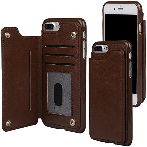 """xhorizon TM Strapazierfähiger stoßfester Brieftasche-Case aus hochwertigem PU-Leder, Rückseite-Folio Flip-Brieftasche-Case mit Kreditkartenschlitzen für iPhone 7 Plus [5.5""""] Kaffee + 9H Tempered Glass Film"""