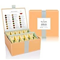 Tea Forté Tea Chest Herbal Tea Tasting Assortment with 40 Handcrafted Pyramid Tea Infusers - Chamomile, Chai, Mint and more