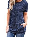 VECDY Pullover Damen, Räumungsverkauf-Frauen Casual Kurzarm Rundhals Taschen Tuniken Lose T-Shirt Blusen Tops Elegant Bluse Sweatshirt