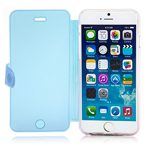 Saxonia Schutzhülle Apple iPhone 6S / 6 Hülle Flip Case Tasche mit Smart-Touch Bedienung (Sichtschutz) stabile Standfunktion Pink Blau