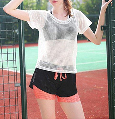 Bigood Femme Vogue Sport Pantalon Court Élastique Casual Souple Yoga Course Ruche Orange