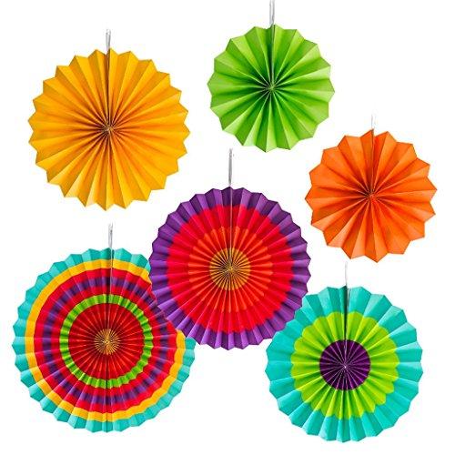 Senoow Bunte Papier Fans Dekoration Runden Rad Fiesta Party Event Supply Wandbehang Ornament (6er Set)