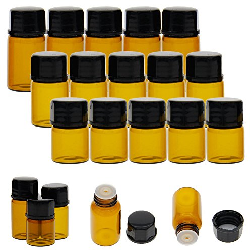 juanya 30Stück Bernstein Glas ätherisches Öl Flaschen 1ml 2ml 3ml Mini leer Probe Flaschen
