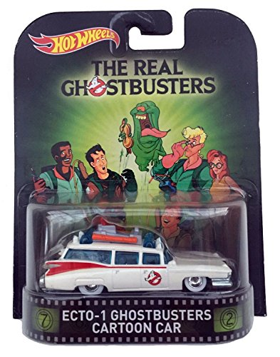 "Ecto 1 Ghostbusters Cartoon Car ""The Real Ghostbusters"" Hot Wheels 2015 Retro Series 1/64 Die Cast Vehicle"