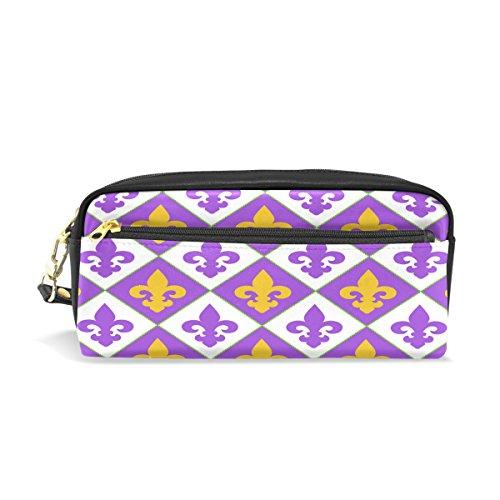Lis-tasche (Alaza Fleur de Lis Federmäppchen Reißverschluss PU Leder Pen Bag Kosmetik Make-up Tasche, Schreibwaren Tasche Tasche großes Fassungsvermögen)
