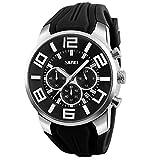 Mode Sport Herrenuhren - Silikon Armband Sub-Dials Chronograph Stoppuhr Analog Datum Quarzuhr Armbanduhren für Männer, Schwarz
