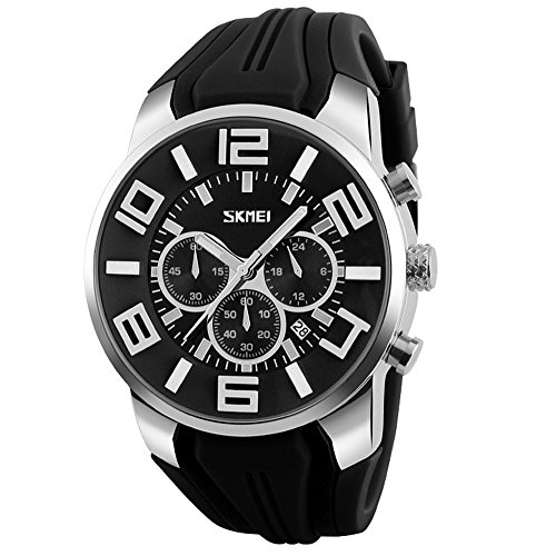 en - Silikon Armband Sub-Dials Chronograph Stoppuhr Analog Datum Quarzuhr Armbanduhren für Männer, Schwarz ()