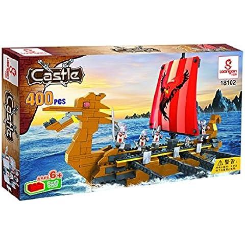 Kidoloop bloques de construcción piratas dragón barco ladrillo construcción juguetes 400pcs construcción barco pirata