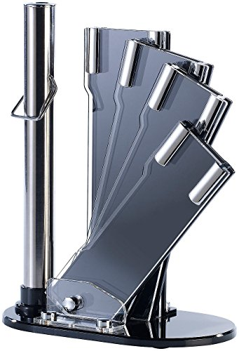 TokioKitchenWare Messerständer: Messerblock aus Acrylglas für 4 Messer u. Schleifstab (Messer-Zubehör)