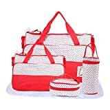 Zest 4 Toyz Baby Diaper Nappy Changing Baby Diaper Bag/Mummy Bag/Bottle Cover/Lunch Box Cover/Waterproof Sheet - 5 Piece Set (Red)