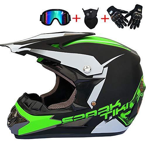 Cartoon Kinder Motorradhelme Full Face Junge Mädchen Dirt Bike ATV Motocross Off Road Racing Helm Brille Handschuhe Maske (S, M, L, XL),C,S -