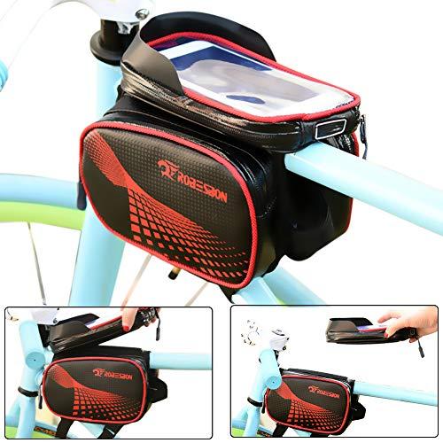 Unisex Youth Sport003 Fahrradtasche Rahmentasche Fahrrad Mountainbike Zubehör Oberrohrtasche und Handytasche Wasserdicht Sensitive Touch-Screen für Alle Fahrradtypen
