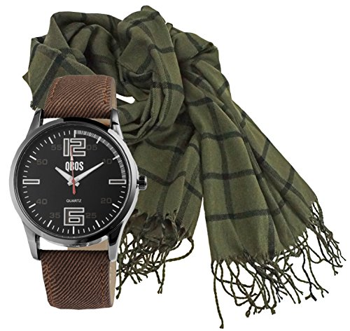 Portogarda Geschenk Set Uhr und Schal für Männer Herren Uhr mit Winter Herren Schal - Schal-geschenk-set