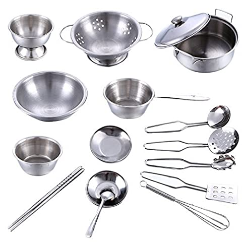 Kitchen Toy, Finer Shop 16Pcs Stainless Steel Kitchenware Cookware Children Kids Simulation Cooking Games Playset - Silver