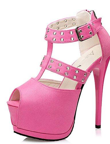 WSS 2016 Chaussures Femme-Décontracté-Noir / Rose / Gris / Bordeaux-Talon Aiguille-Talons-Chaussures à Talons-Laine synthétique pink-us6.5-7 / eu37 / uk4.5-5 / cn37