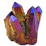 mookaitedecor Titanium Coated Naturales de Cristal de Roca rohstück Geode Decorativa Piedra Natural Pieza Piedras Preciosas Decoración muestras, Violeta/Dorado