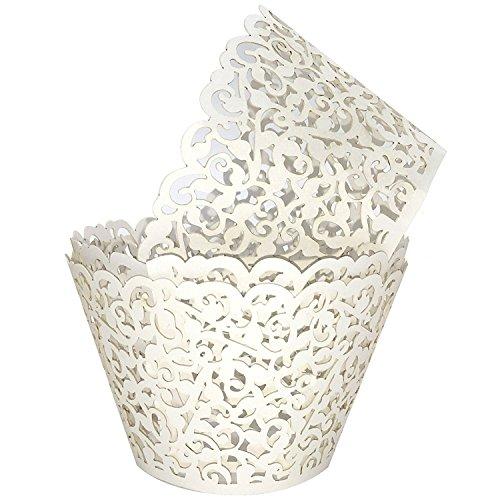 Cupcake Wrappers 100Stück/Pack Cremige Weiß Spitze Cupcake Liners Laser Cut Cupcake Papier Cupcake Muffin Cups für Hochzeit/Geburtstag Dekorationen (Geschenk: 15Pack Cake Toppers) Cup Form