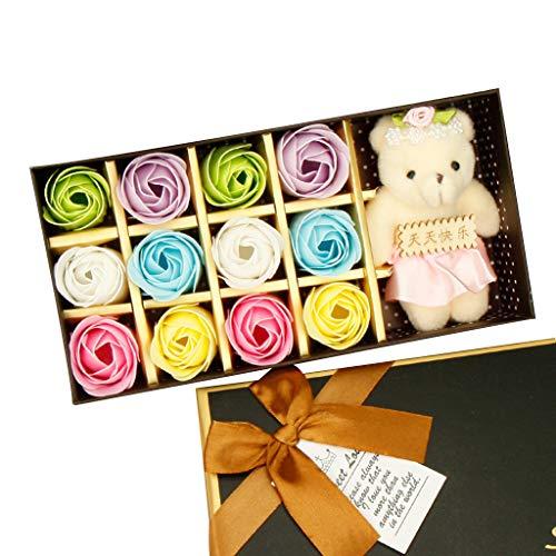 Seifenblume 12 STÜCKE Romantische Rose Seife Blume geschenkbox mit Plüschtier Spielzeug Bär Puppe Küche Haushalt Wohnen Bastel Malen Nähen Blumengestecke