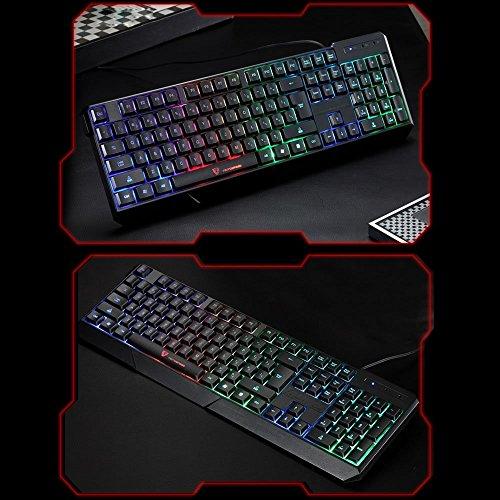 Gocheer Beleuchtet Bunt Tastatur 104 QWERTY USB RGB Gaming Tastatur Hintergrundbeleuchtung LED Regenbogen Wasserdicht Ergonomisch Tastatur für Computer PC Laptop Dell Mac Notebook Lenovo HP - 6