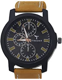 TYMONT Stylish Analog Round Black Dial With Leather Brown Belt Wrist Watch For Men's