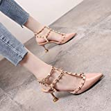 Yukun zapatos de tacón alto Studded Pointed High Heels Female Word Buckle Hollow Patent Leather Stiletto Cat with Single Shoes, 34, Pink