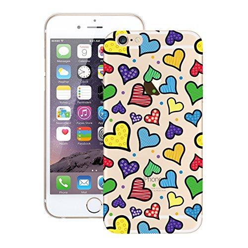 Custodia iPhone 6, Dexnor Cover iPhone 6 Custodia Silicone Trasparente Modello Morbido Gel Gomma TPU Bumper Slim Case Sottile Antiurto Copertura Protezione Protettiva Back Cover - Reticolo Variopinto Cuore Variopinto di Amore