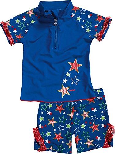 Playshoes Mädchen Einteiler 2-teiliges Badeset Sterne, bestehend aus Badeshirt und Badeshorts, UV-Schutz nach Standard 801 und Oeko-Tex Standard 100, Gr. 86 (Herstellergröße: 86/92), Blau (original 900)