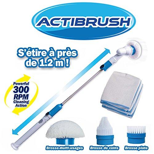 ACTIBRUSH + Lot de 2 Chiffons Microfibres – Brosse à récurer sans fil et rechargeable avec Rallonge –...