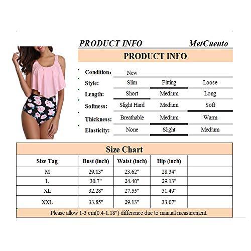 MetCuento Damen-Badeanzug Tankini, zweiteilig, gerüschter Racerback, hohe Taille, schulterfrei, Bauchkontrolle, Bikini-Set - Pink - Medium (38-40) - 7
