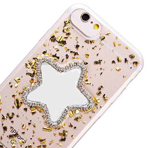 Custodia iPhone 6 / iPhone 6S, VemMore Case di Specchio Stella Morbido Trasparente Silicone TPU Cover con 3D Diamante Luccichio Strass Patterned Design Caso Backcase del Ultra Sottile Bling Sparkly Sc Oro