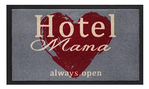 F&S MONDO sehr hochwertiger rutschfester und robuster Schmutzfangmatte Fussmatte 45 x 75 cm für Aussen und Innenbereich, abwaschbar. Motiv Hotel Mama always open. Hergestellt in WEST EUROPA.