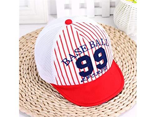 Kleinkind Mütze Kids Anzahl Streifen Mesh Cap Baby Breathable Baseballmütze Sonnenschutz Hut für Outdoor Baby Kopfbedeckung (Farbe : Red, Größe : 44-46cm) - Visor Stripe Cap